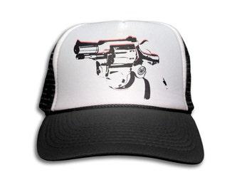 Trucker Cap - Revolver Gun Trucker Hat - Snapback Mesh Cap - Retro, Rock, Pop Art, Gun, Pistol, Revolver, 1970's