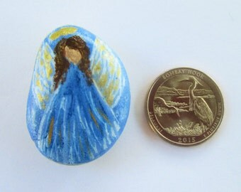 Angel protection stone good luck blessing hand painted miniature