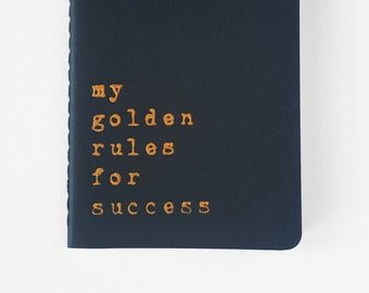 Sucess notebook - Golden letters on Navy Blue MOLESKINE® journal. For entrepreneurs and all people with a vision and ambition.
