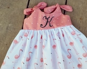 Flamingo dress, Beach Dress, Summer outfit, monogrammed baby dress, coral, coming home outfit, personalized, knot dress, personalized