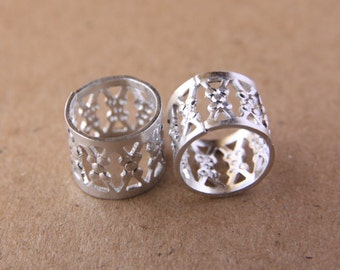 Silver Filigree 10mm (0.39in) Hole Filigree Dreadlock Cuffs Dread Hair Beads & FREE Stainless Steel Ring Bead
