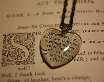 Literature definition vintage dictionary necklace - Vintage Shakespeare Book