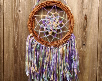 Spring blooms crocheted dreamcatcher, mandala, grapevine, pastel colors