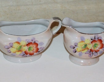 Lusterware Sugar Bowl and Creamer -Hand Painted Porcelain - Mid Century - Japan - Collectibles -Vintage Wedding - Cottage Decor - Flowers