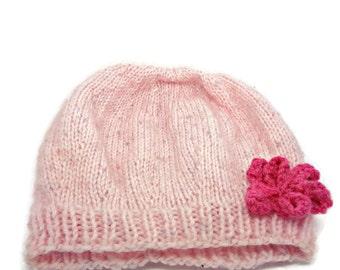 Knitted baby hat, pink baby girls hat, newborn baby hat, baby hat with flower, baby shower gift, uk baby hats, newborn gift, pale pink hat