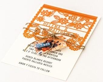 Destination Wedding Invitations - Destination Wedding Colorful Mexican Fiesta Papel Picado Wedding Invitation (Helena Suite)