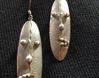 Vintage Handmade Sterling Silver Tribal Earrings