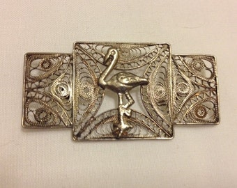 Old Handmade Silver Vintage Filigree Brooch Pin