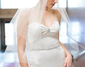 Two Tier Diamond White Juliet Vintage Embroidered Motif Bridal Veil Wedding Accessory