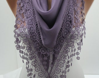Purple Scarf Shawl Lace Scarf  Summer Spring Winter Scarf  Fashion Women Accessories Mother's Day Gift For Her for Mom DIDUCI