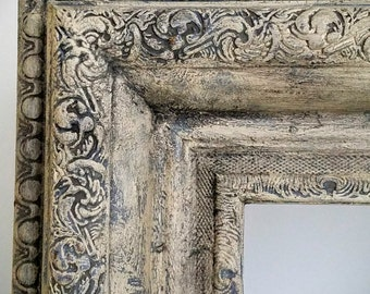 Ornate Square Picture Frame – Hand Painted Distressed 27x27 Frame