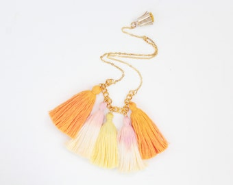 SALE / WAVES 4 / Hand colored organic cotton tassel bohemian statement necklace - Ready to Ship
