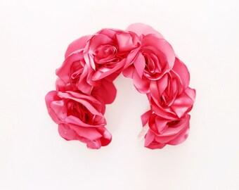 SALE / POPPY / Fabric flower oversized kokoshnik / floral crown-OOAK - Ready to Ship