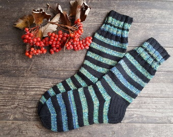 Hand Knit Wool Socks - Colorful Men Socks -Sock Size Large (US - 13 - EU 47)