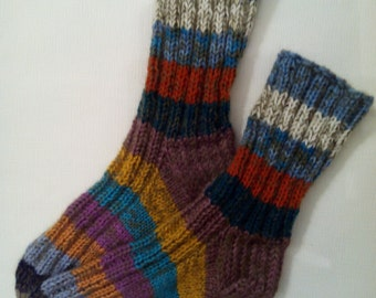 Hand Knit Wool Socks -Colorful for Women - Size Medium-US W7,EU38
