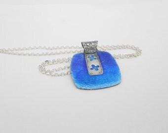 Blue Enameled Necklace, Fine Silver