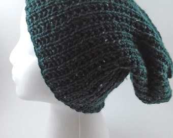 Forest Green Waffle Knit Slouchy Knit Beanie