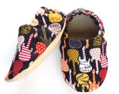 Guitar Baby Boy Shoes, 6-12 mos. Baby Booties, Rock and Roll Baby Soft Shoes, Slip On Baby Shoes, Baby Boy Gift