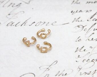 Tiny Minimalist Yellow Gold Ear Cuffs,Tiny Solid Gold Earrings,Delicate Ear Cuff,Minimalist Jewelry