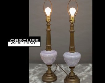 Fantastic Pair of Unusual Table Lamps - Light Purple Ceramic with Brass Base and Top Column - Anthropologie Enviroment