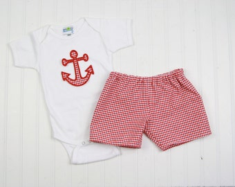 Summer Baby Boy Outfit - Anchor Shirt - Nautical Nursery Outfit - Red Gingham Shorts Outfit - Monogram Toddler Boy Clothes - Anchor Outfit