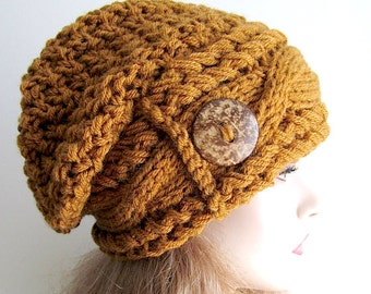 Slouchy Beanie Slouch Cable Hats Oversized Baggy Beret Button womens fall winter accessory Brown Mustard Super Chunky Hand Made Knit