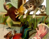 Crazy CATS and frog making merry; Vintage Trade Card, INSTANT Digital Download; Printable Image