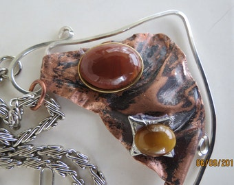 Mixed Metal Jasper and Tiger eye Pendant