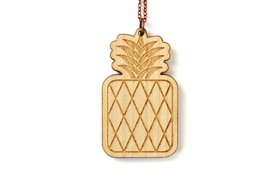 Pineapple pendant - fruit necklace - summer jewelry - retro kitsch beach jewellery - lasercut maple wood - graphic jewelry - holidays