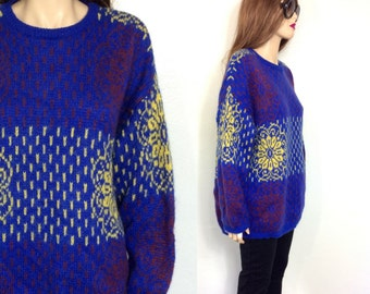 80's Sweater Benetton 90's Sweater Ugly Sweater Slouchy Sweater Wool Mohair Sweater Oversized Sweater Geometric Extra Large Made in Italy