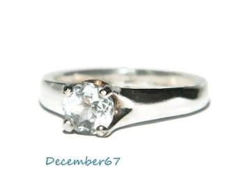 White Topaz Ring, Sterling Silver Ring, Size 7 Ring, Engagement Ring, Promise Ring, 1 Carat Ring