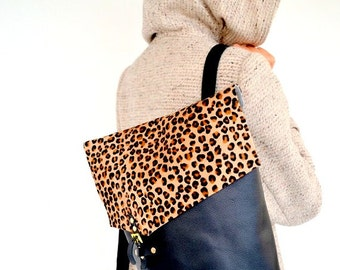 Black and leopard print leather backpack /  Animal print / Handmade leather bag / Italian hairy cow leather, high quality leathers
