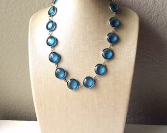 Blue glass bubble statement necklace - simple caribbean blue  everyday lightweight silver jewelry - bridesmaid stone necklace