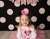 GIRL MOUSE BIRTHDAY banner / Birthday banner / 3rd birthday girl / 1st birthday girl / Birthday banner / Pink and black birthday / Banners