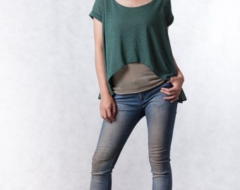NO.165 Olive and Moss Sheer Knit Tee, Double Layered Top, Women's Top