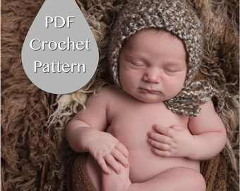 PDF Crochet Pattern #0004 for Newborn Homespun Bonnet, Tutorial, Pattern, Crochet Pattern, Easy, Beginner, Newborn Prop, Instruction