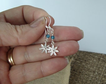 Small Sterling Silver Daisy and Watery Blue Quartz dangle Earrings Summer Spring Gift