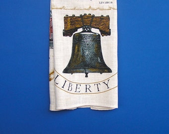The Liberty Bell, Independence Hall, Betsy Ross House, Patriotic Kitchen Tea Towel, 1970s Kay Dee Hand Prints, unused