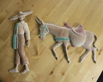 Vintage Wall Hanging, Man and Burro /Donkey ,Southwestern wall art , South Western, Spanish design,