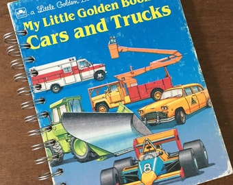 Vintage My Little Golden Book of Cars and Trucks Little Golden Book Recycled Journal
