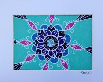 mini mandala - matted print - blue flower mandala art - meditation room / yoga studio art - girls' room decor