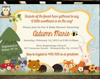 Cute Forest/Woodland Themed Baby Shower Invitation - Woodland Baby Animal Baby Shower Invitation-Neutral