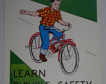 Vintage 1961 School Health Poster | Intermediates Grades - Set 2 | Learn Bicycle Safety  | Hayes School Publishing Co. | By Helen S. Hansen