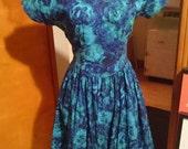 Beautiful casual blue floral dress
