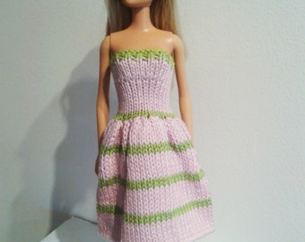 Barbie clothes - Knitted Dress - pink, green