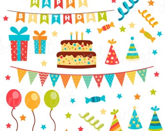 Happy Birthday Clip art, Birthday clipart, Scrapbook Supplies, Birthday Cake Graphic, Invitation - Commercial & Personal - Instant Download