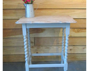 Oak Barley Twist Table with Limed Finish