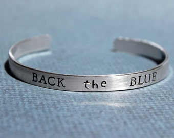 Back the Blue Bracelet, LEO Support, Police Wife Jewelry, Thin Blue Line, Police Officer Gift, Sherriff Daughter Girlfriend, Bluelivesmatter