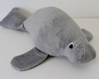 Soft Gray Manatee Plush / Gray Stuffed Animal Manatee Plush