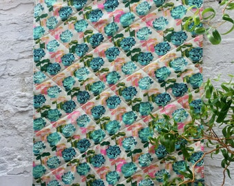 Rose Lap Quilt backed with Minky, Sofa Throw, Baby Blanket, Homemade Quilt